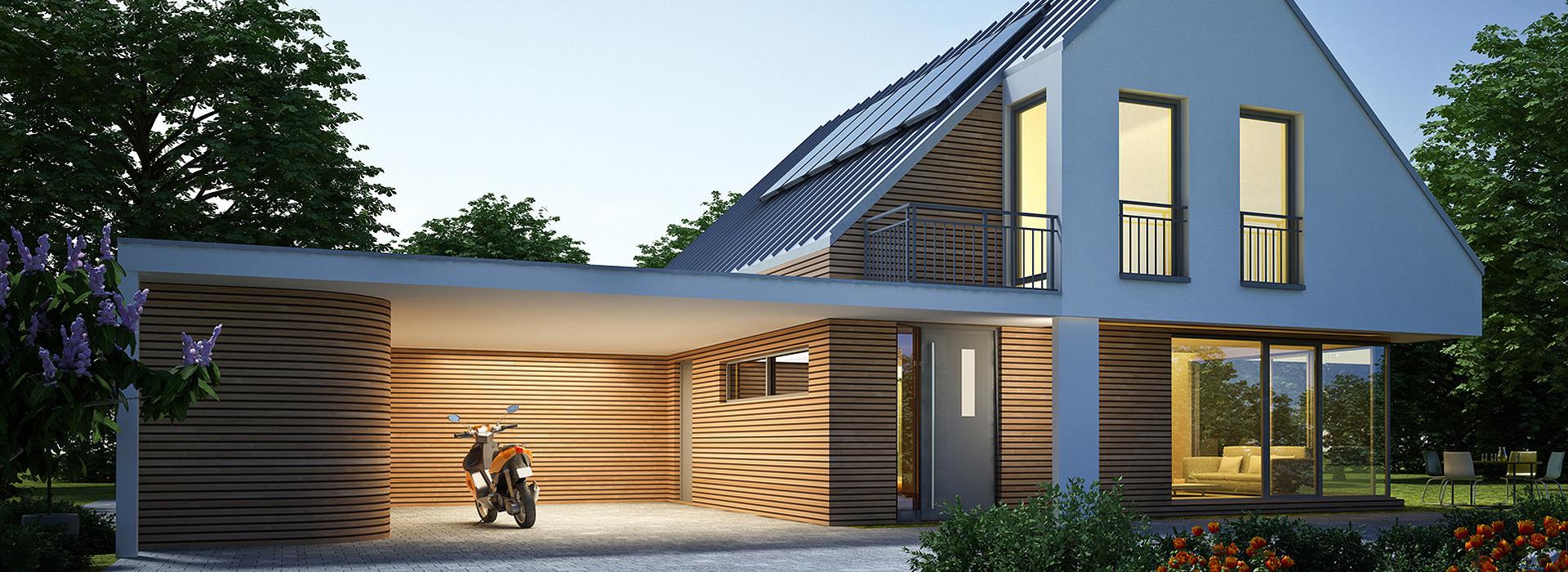 haus zinkdach mit carport abend ecobiohaus. Black Bedroom Furniture Sets. Home Design Ideas